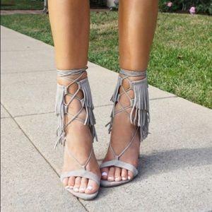 SCHUTZ Kija Ciment Fringe Gladiator Heels Size 9B